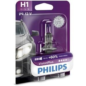 Bec auto far halogen PHILIPS H1 Vision Plus+60%, 12V, 55W, P14.5S, blister 1 bucata AUT12258VPB1