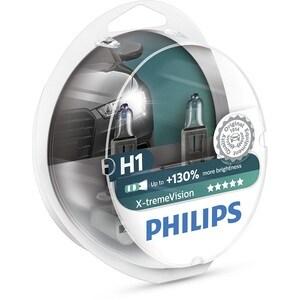 Bec auto far halogen PHILIPS H1 X-treme Vision+130%, 12V, 55W, P14.s, set 2 bucati AUT12258XVS2