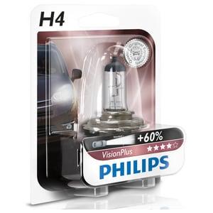 Bec auto far halogen PHILIPS H4 Vision Plus+60%, 12V, 60/55W, P43T-38, blister 1 bucata AUT12342VPB1