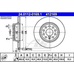 Disc frana spate ATE 24011201691, VW AUT24011201691