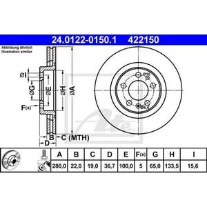 Disc frana fata STG/DR ATE 24012201501, VW, Audi AUT24012201501