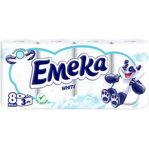 Hartie igienica EMEKA White, 3 straturi, 8 role CONHIEMKWH3S8R