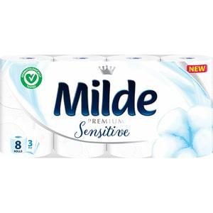 Hartie igienica MILDE Sensitive, 3 straturi, 8 role CONHIMLDSNS3S8R