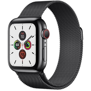 APPLE Watch Series 5 GPS + Cellular, 40mm Space Black Stainless Steel Case, Space Black Milanese Loop SMWMWX92WB