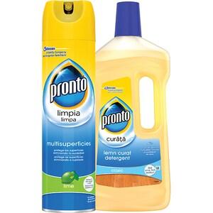 Pachet spray multisuprafete PRONTO lime, 300ml + detergent pentru parchet PRONTO Lemn curat, 750ml CON676379