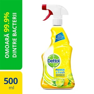 Spray dezinfectant DETTOL Trigger Power & Fresh, Sparkling Lemon & Lime Burst, 500 ml CONDETLEMLB500