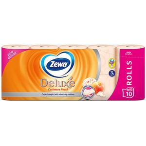 Hartie igienica ZEWA Deluxe Cashmere peach, 3 straturi, 10 role CONHIZWDCP3S10R