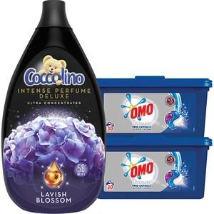 Pachet detergent OMO Trio Caps Active Clean 60 Spalari + Balsam COCCOLINO Intens Lavish Blossom 58 Spalari CONOMOCOCPACK