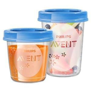 Recipiente stocare hrana PHILIPS AVENT SCF721/20, 21 piese, albastru - transparent ACASCF72120