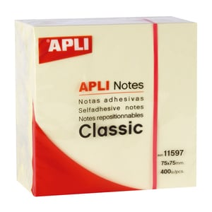 Cub notite adezive  APLI, 400 file, 75 x 75mm, galben PBHAL011597