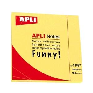 Notite adezive APLI, 100 file, 75 x 75mm, galben PBHAL011897