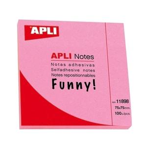 Notite adezive APLI, 100 file, 75 x 75mm, roz PBHAL011898