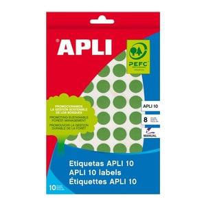 Etichete autoadezive APLI, 19 mm, 320 etichete/blister, verde PBHAL02745