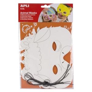 Masca pentru copii APLI, Diverse modele, 6 bucati, alb PBOAL113684