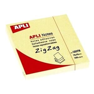 Notite adezive APLI, 100 file, 75 x 75mm, galben PBHAL12078
