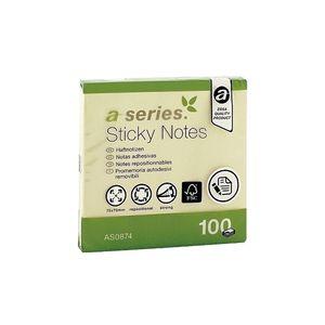 Notite adezive A-SERIES, 100 file, 75 x 75mm, galben PBHAY000800