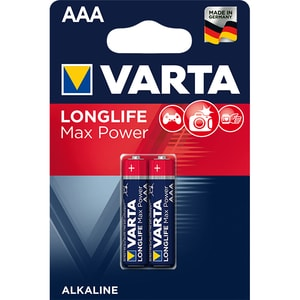 Baterii alcaline AAA VARTA Longlife Max Power, 2 bucati BATMAXTECHR3B2