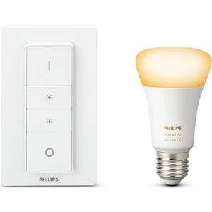 Kit bec LED PHILIPS Hue A19 10.5 (60W), E27, Lumina alba + Intrerupator cu variator BSWHUE10WINTR