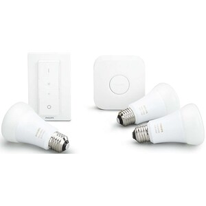 Kit 3 becuri LED PHILIPS Hue A60 10W (60W), E27, Lumina RGB + Consola + Intrerupator cu variator BSWKIT310WRGB