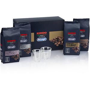 Pachet DE LONGHI Kimbo 5513282711: Espresso Classic boabe + Espresso 100% Arabica boabe + Espresso Prestige boabe + Espresso Gourmet boabe + Set 2 pahare espresso 60ml, 4 x 250g CAPPACK
