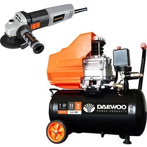 Compresor aer DAEWOO DAAC24D, 24L, 1500W, 2CP, 8 bar, 169L/min, cu ulei + Polizor unghiiular DAEWOO DAAG115-75 CMIDAAC24DDAAG1