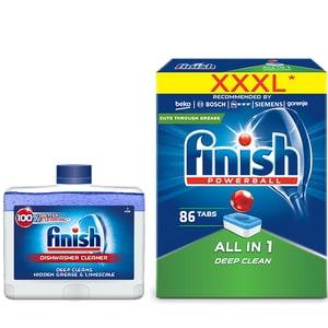 Pachet detergent vase FINISH All in One Max, 86 tablete + solutie de curatare FINISH, pentru masina de spalat vase, 250 ml CONFINAIO86SOL