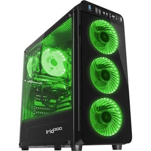 Carcasa GENESIS Irid 300 Green, USB 3.0, fara sursa, negru CSAIRID300GN