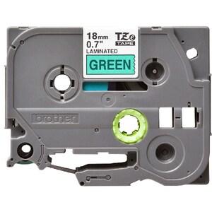 Banda etichete BROTHER TZe-741, 18 mm, 8 m, Negru pe Verde CSMTZE741