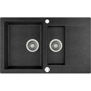Chiuveta bucatarie TEKA CLIVO60B, 1 1/2 cuve, picurator reversibil, compozit granit, schwarzmetallic CVT40148020