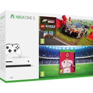 Consola Microsoft Xbox One S 1tb, Alb + Joc Fifa 20 + Joc Forza Horizon 4 + Lego Speed Champions Dlc (coduri Download)
