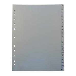 Separator NOKI A-Z, 225 x 297 mm, plastic, 11 perforatii; format A4, gri PBODY00040