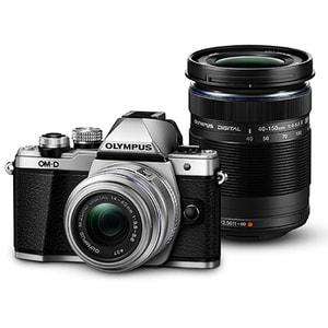 Aparat foto Mirrorless OLYMPUS E-M10 MARK II Double Zoom, 16 MP, Wi-Fi, argintiu + Obiectiv 14-42mm + Obiectiv 40-150mm MLCEM10IIDDZSL