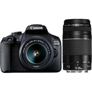 Aparat foto DSLR CANON EOS 2000D, 24.1MP, Wi-Fi, negru + Obiectiv 18-55 IS + Obiectiv 75-300 SEE SLR2000DDZ