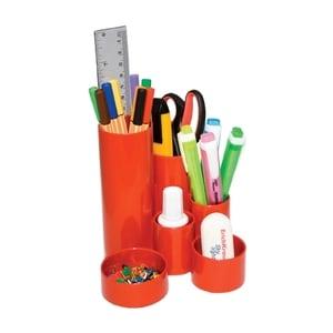 Suport instrumente de scris FLARO, 4 compartimente, plastic, rosu PBBFL6897