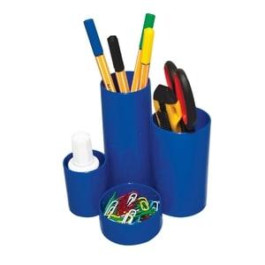 Suport instrumente de scris FLARO, 4 compartimente, plastic, albastru PBBFL6899