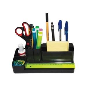 Suport accesorii birou FLARO, 9 compartimente, plastic, negru PBBFL6999