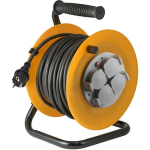 Prelungitor cu tambur metalic HOME HJR 10-25/1.0, 4 prize, IP44, 25m PRZHJR10251