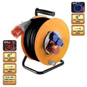 Prelungitor cu tambur metalic HOME HJR 400-25, 1 x 400V, 2 x 230V, 25m PRZHJR40025