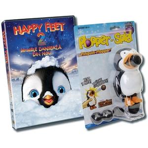 Pachet Happy Feet 2: Mumble danseaza din nou DVD + jucarie Pinguin Plopper DV-PACDVHF2PING