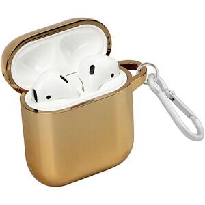 Husa pentru Apple AirPods + inel prindere PROMATE NeonCase, silicon galvanizat, auriu AHSNEONCASEGD
