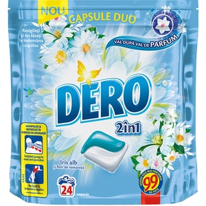 Detergent DERO Duo Caps Iris alb, 24 capsule, 24 spalari CONDERODCPSBM24