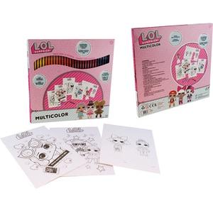 Set carioci lavabile LOL Surprise 35830J: 4 coli A4 de colorat si o coala A4 cu forme de colorat si asamblat, 3 ani+, 60 culori JIN35830J
