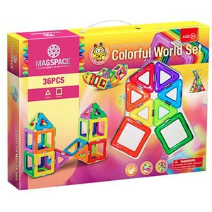 Joc constructie magnetic MAGSPACE Colorful World, 3 ani +, 36 piese JINMTMS2024