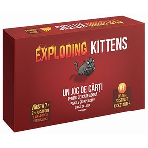 Joc de societate ASMODEE Exploding Kittens EKEK01RO, 7 ani+, 2 - 5 jucatori JOCEKEK01RO