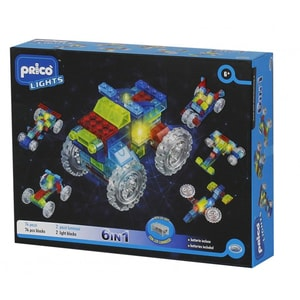 Joc constructie PRICO Lights Masinuta cu lumini LED 6 in 1 36905J, 6 ani+, 76 piese JUC36905J