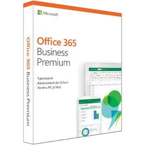 Microsoft Office 365 Business Premium 2019, Romana, 1 an, 1 utilizator, Windows/Mac, iOS si Android EDUKLQ00387