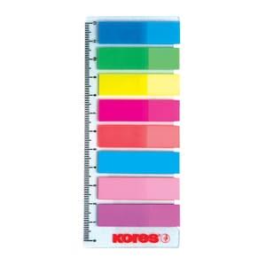 Index autoadeziv KORES, 12 x 45 mm, plastic, 8 x 25 file, diverse culori PBBKS00011