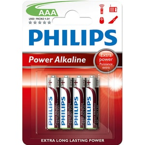 Baterie alcalina PHILIPS LR03, AAA, 4 bucati BATLR03P4B10