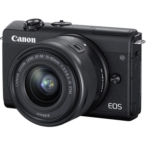 Aparat foto Mirrorless CANON EOS M200, 24.1 MP, Wi-Fi, negru + Obiectiv 15-45mm IS MLCEOSM200BK