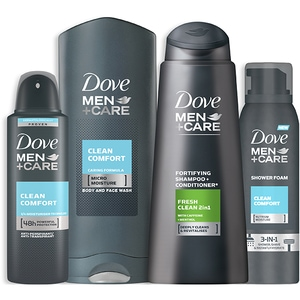 Set ingrijire DOVE Men+ Care: Sampon Clean Fresh, 400ml + Gel de dus Clean Comfort, 400ml + Spuma de dus Clean Comfort, 200ml + Antiperspirant spray Clean Comfort, 150ml PAK67780977